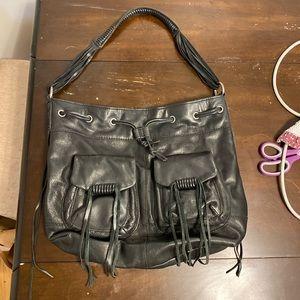 Black leather fringe shoulder bag purse